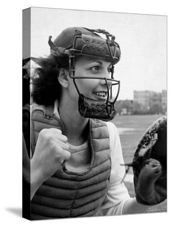 "Mary ""Binnie"" Baker Plays Catcher For All American Girls Baseball League on the South Bend Team"