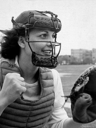 """Mary """"Binnie"""" Baker Plays Catcher For All American Girls Baseball League on the South Bend Team"""