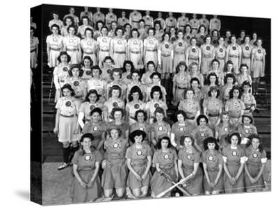 The All American Girls Professional Ball League Posing For a League Portrait in Their Uniforms
