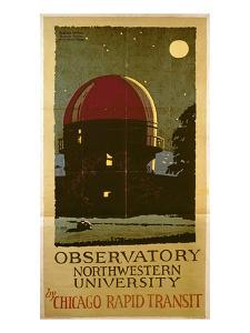 Observatory Northwestern University, Poster for the Chicago Rapid Transit Company, USA, 1925 by Wallace Swanson