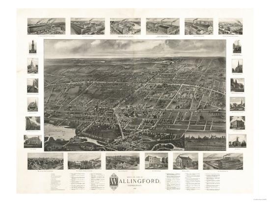 Wallingford, Connecticut - Panoramic Map-Lantern Press-Art Print
