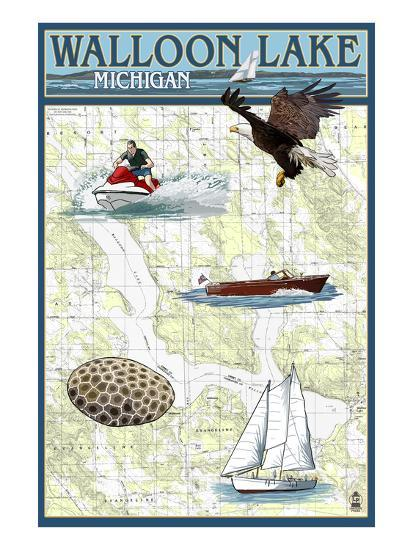 Walloon Lake, Michigan - Nautical Chart-Lantern Press-Art Print