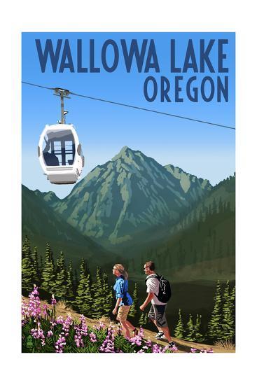 Wallowa Lake, Oregon - Mountain and Gondola-Lantern Press-Art Print