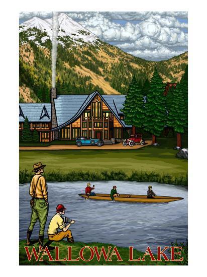Wallowa Lake, Oregon, View of the Lodge and Lake-Lantern Press-Art Print