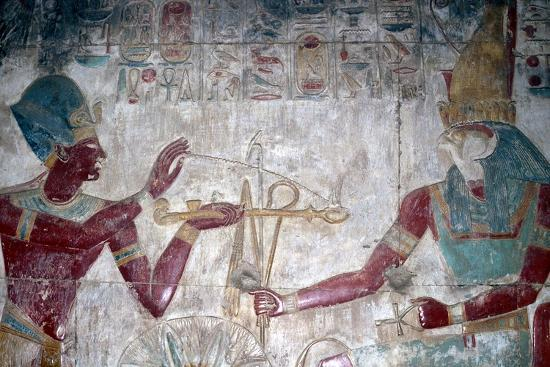 Wallpainting (detail) of Sethos I before Horus, Temple of Sethos I, Abydos, Egypt, c1280 BC-Unknown-Giclee Print