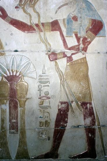 Wallpainting of Thoth (Ibis-headed god), Temple of Sethos I, Abydos, Egyptian, c1280 BC-Unknown-Giclee Print