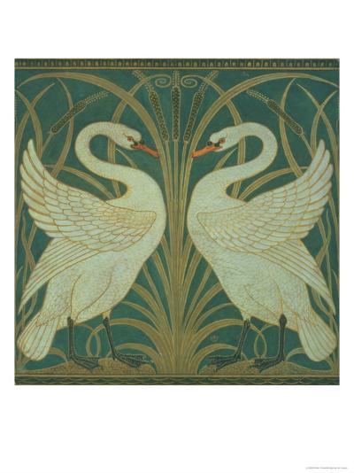 Wallpaper Design For Panel of Swan, Rush and Iris-Walter Crane-Giclee Print