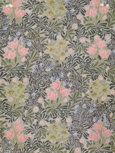 Wallpaper design with Tulips, Daisies and Honeysuckle-William Morris-Giclee Print