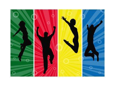 Wallpaper with Jumping People Silhouettes on Sunburst Background-anasztazia-Art Print