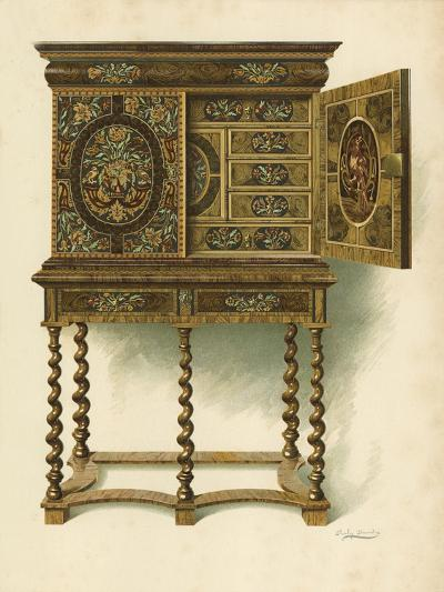 Walnut Cabinet Inlaid with Marqueterie-Shirley Charles Llewellyn Slocombe-Giclee Print