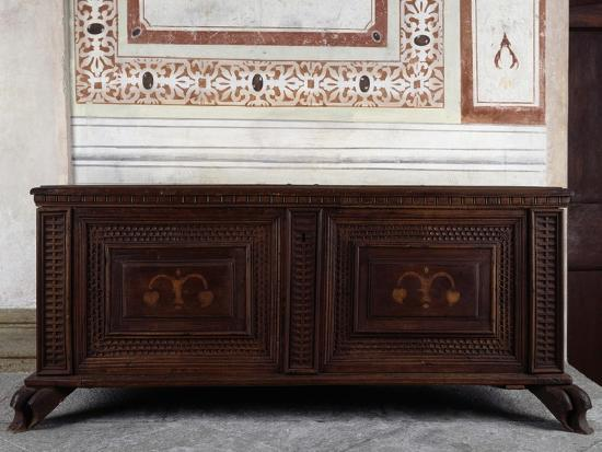 Walnut Chest, Vertemate Franchi Palace, Piuro, Lombardy, Italy, 16th Century--Giclee Print