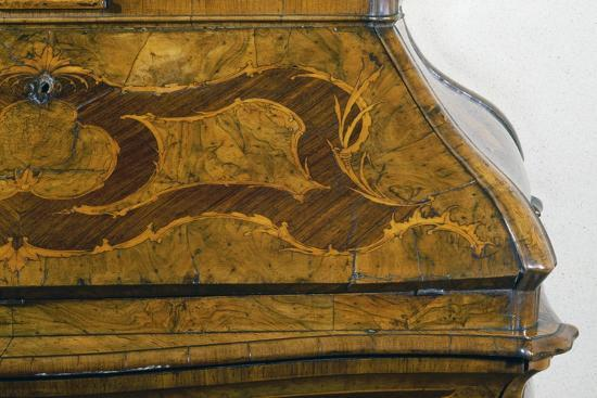 Walnut Lombard Trumeau Cabinet with Decorative Motifs in Rosewood and Boxwood, Italy, Detail--Giclee Print