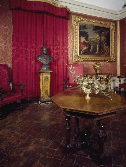 Walnut Veneer Wood Table in Pope Benedict XIV's Salon, Tozzoni Mansion, Italy--Giclee Print