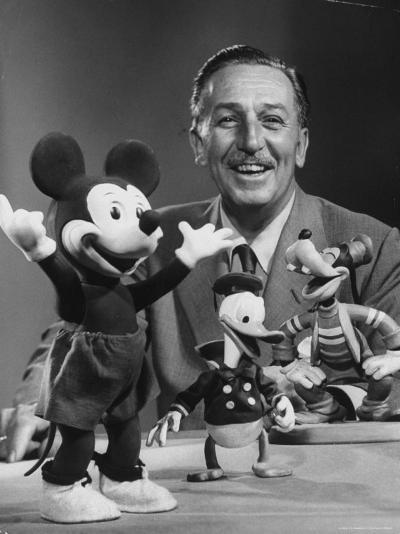 Walt Disney, of Walt Disney Studios, Posing with Some Famous Cartoon Characters-J^ R^ Eyerman-Premium Photographic Print