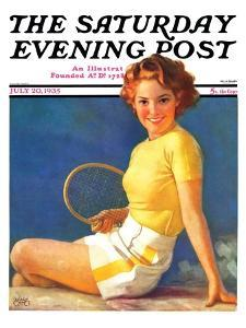 """""""Tennis Time-Out,"""" Saturday Evening Post Cover, July 20, 1935 by Walt Otto"""