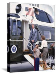 President Jimmy Carter Boarding Helicopter Marine 1 with Wife Rosalynn For an Easter Vacation by Walter Bennett