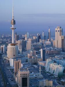 Aerial over Hilalli Street Towards Liberation Tower, Kuwait City, Kuwait by Walter Bibikow