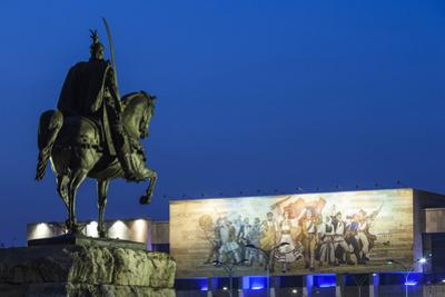 Albania, Tirana, Skanderbeg Square, Statue of Skanderbeg and National Historical Museum, Dusk