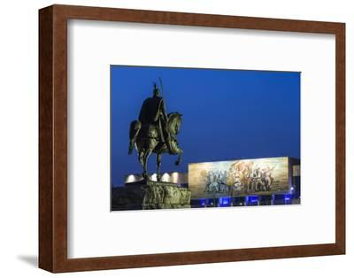 Albania, Tirana, Skanderbeg Square, Statue of Skanderbeg and National Historical Museum, Dusk