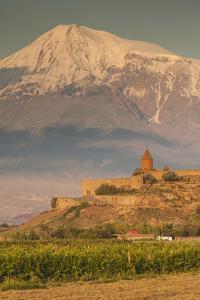 Armenia, Khor Virap. Khor Virap Monastery, 6th century, with Mt. Ararat. by Walter Bibikow