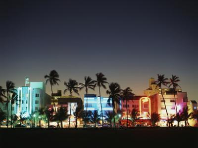 Art Deco Hotels at Dusk, Miami Beach, Florida, USA