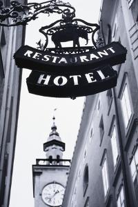 Austria, Salzburg, Hotel Sign by Walter Bibikow