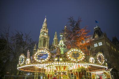Austria, Vienna, Rathaus, Town Hall, Christmas by Walter Bibikow
