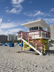 Beach Lifeguard Tower, South Beach, Miami, Florida by Walter Bibikow