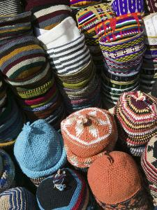Berber Hats, Souqs of Marrakech, Marrakech, Morocco by Walter Bibikow