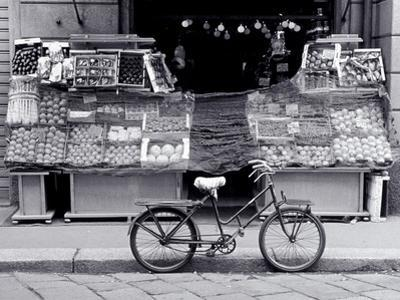 Bike Parked in Front of Fruit Stand, Lombardia, Milan, Italy