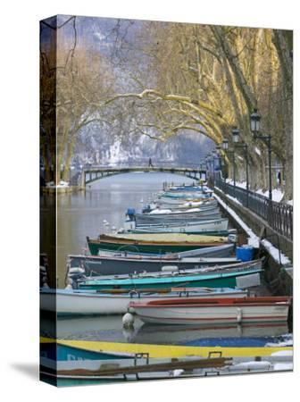 Boats Along Canal du Vasse, Annecy, Haute-Savoie, France
