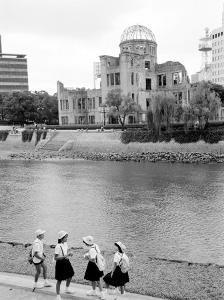 Bomb Dome and Schoolchildren, Hiroshima, Japan by Walter Bibikow