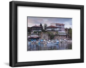 Bulgaria, Black Sea Coast, Nesebar, Waterfront Restaurants, Dusk by Walter Bibikow