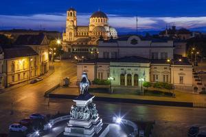 Bulgaria, Sofia, Ploshtad Narodno Sabranie Square, Elevated View, Dawn by Walter Bibikow
