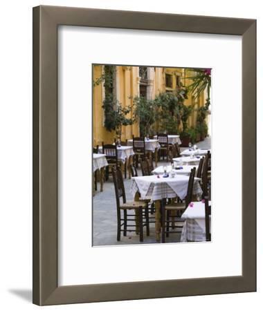 Cafe Tables, Hania, Hania Province, Crete, Greece