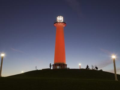 California, Long Beach, Shoreline Village Lighthouse, Evening, USA
