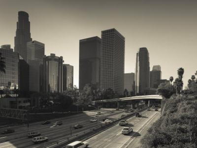 California, Los Angeles, Downtown and Rt, 110 Harbor Freeway, USA