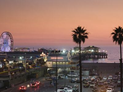 California, Los Angeles, Santa Monica, Santa Monica Pier, Dusk, USA by Walter Bibikow