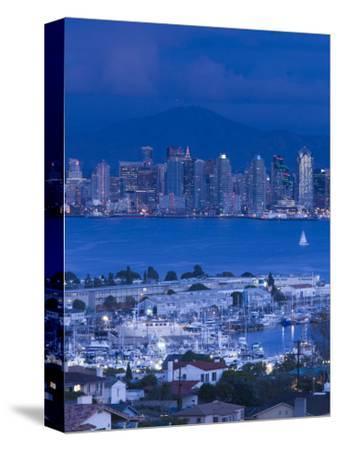 California, San Diego, City and Shelter Island Yacht Basin from Point Loma, Dusk, USA