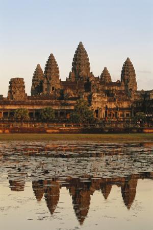 Cambodia, Siem Reap, Angkor, Aerial View of Village at Sunset