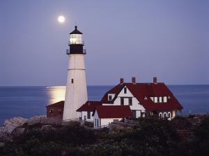 Cape Elizabeth Lighthouse with Full Moon, Portland, Maine, USA by Walter Bibikow