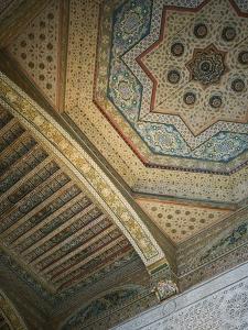 Ceiling Detail, House of the Grand Vizier, Palais De La Bahia, Marrakech, Morocco by Walter Bibikow