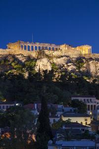 Central Greece, Athens, Acropolis, Elevated View, Dusk by Walter Bibikow