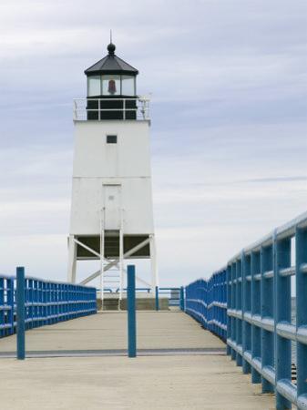 Charlevoix Lighthouse on Lake Michigan, Michigan, USA by Walter Bibikow