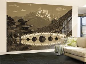 China, Yunnan Province, Lijiang, Black Dragon Pool Park and Jade Dragon Snow Mountain by Walter Bibikow