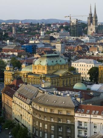 City and Croatian National Theater, Zagreb, Croatia by Walter Bibikow