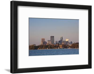 City Skyline from Lake Calhoun, Sunset, Minneapolis, Minnesota, USA