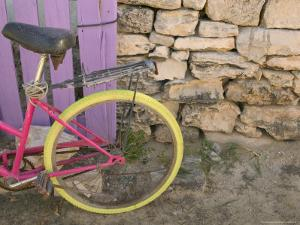 Colorful Bicycle on Salt Cay Island, Turks and Caicos, Caribbean by Walter Bibikow