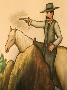 Cowboy Mural, America's Gunfight Capital, Tombstone, Arizona, USA by Walter Bibikow