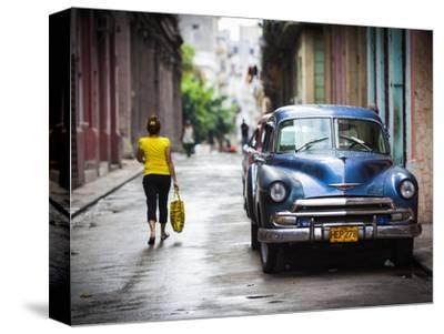 Cuba, Havana, Havana Vieja View of Old Havana Street with 1950s-Era US Car